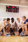 Volleyball Team Having Team Talk From Coach — Stock Photo