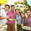 Friends Having Party In Backyard — Stock Photo #59873337