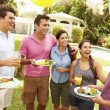 Friends Having Party In Backyard — Stock Photo #59873449