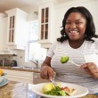Overweight Woman Eating Healthy Meal — Stock Photo #59874277