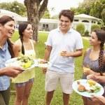 Friends Having Party In Backyard — Stock Photo #59874523