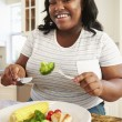 Woman Eating Healthy Meal — Stock Photo #59876641