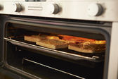Cheese On Toast In Oven — Stock Photo