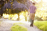 Boy Walking Along Path — Stock Photo