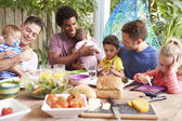 Fathers With Children Enjoying Meal — Stock Photo