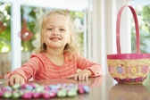 Girl With Chocolate Easter Eggs — Stock Photo