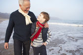 Grandfather And Grandson  On Beach — Stock Photo