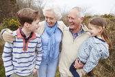 Grandparents With Grandchildren On Walk — Stock Photo