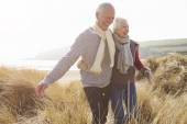 Senior Couple Walking on Dunes — Stock Photo