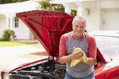 Man  Restored Classic Car — Stock Photo