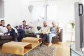 Multi Generation Family Watching TV — Stock Photo