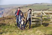 Family on Coastal Path — Stock Photo