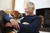 Senior Man  With Dog — Photo