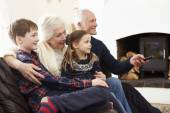Grandparents  Watching TV With Grandchildren — Stock Photo