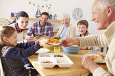Multi Generation Family Eating Lunch — Stock Photo