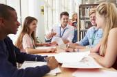 Students With Teacher In Library — Stock Photo