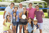 Multi Generation Family Playing Volleyball — Foto Stock