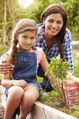 Mother And Daughter Working On Allotment — Stock Photo