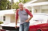 Senior Man with Restored Classic Car — Stock Photo