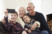 Grandparents And Grandchildren  Taking Selfie — Stock Photo