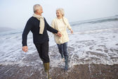 Senior Couple on Winter Beach — Stock Photo