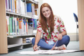 Female Student Studying In Library — Foto Stock
