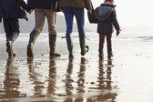 Family Walking Along Winter Beach — Stock Photo