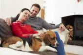 Couple Relaxing  With Dog — Stock Photo