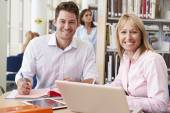 Teacher and Student  In Library — Stock Photo