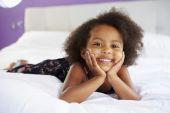 Cute Girl Lying On Bed — 图库照片