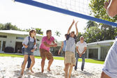 Multi Generation Family Playing Volleyball — Stock Photo