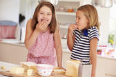 Girls Eating Ingredients for Toast — Foto Stock