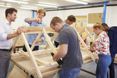 College Students Studying Carpentry — Fotografia Stock