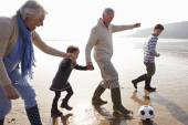 Grandparents With Grandchildren Playing Football — Stock Photo