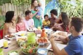 Families Enjoying Outdoor Meal — Stock Photo