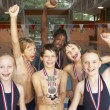 Winning swimming team — Stock Photo #61028211