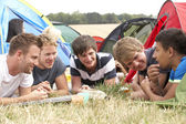Boys on camping trip — Stock Photo