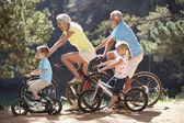 Senior couple with grandchildren on  bike ride — Stock Photo
