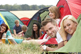 People on camping trip — Stock Photo