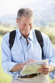 Senior man on  walk — Stock Photo