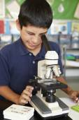 Boy in science class — Stock Photo