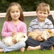 Boy and girl with guinea pigs — Stock Photo #61031147