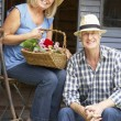 Senior couple on veranda — Stock Photo #61031205