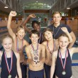 Winning swimming team — Stock Photo #61032871