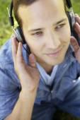 Man wearing headphones — Stock Photo