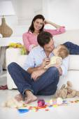 Parents  with baby girl — Stock Photo