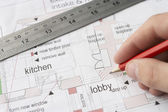 Working on technical drawing — Stock Photo