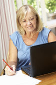 Senior Woman Working In Home Office — Stock Photo