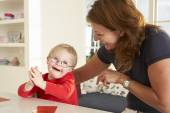 Downs Syndrome boy  therapy — Stock Photo
