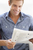 Man reading instructions — Stock Photo